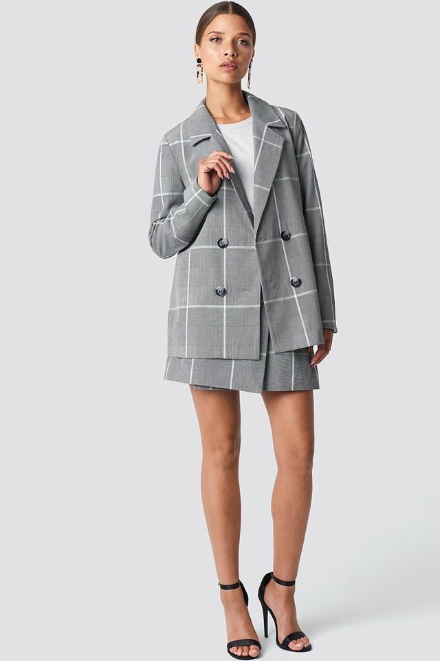 Checked Oversized Blazer Grey