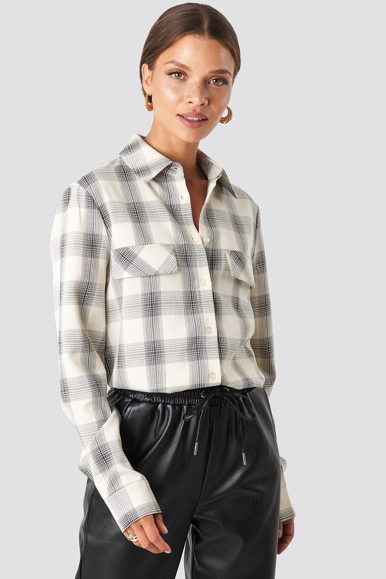 Checked Oversized Shirt Beige by Na Kd Trend
