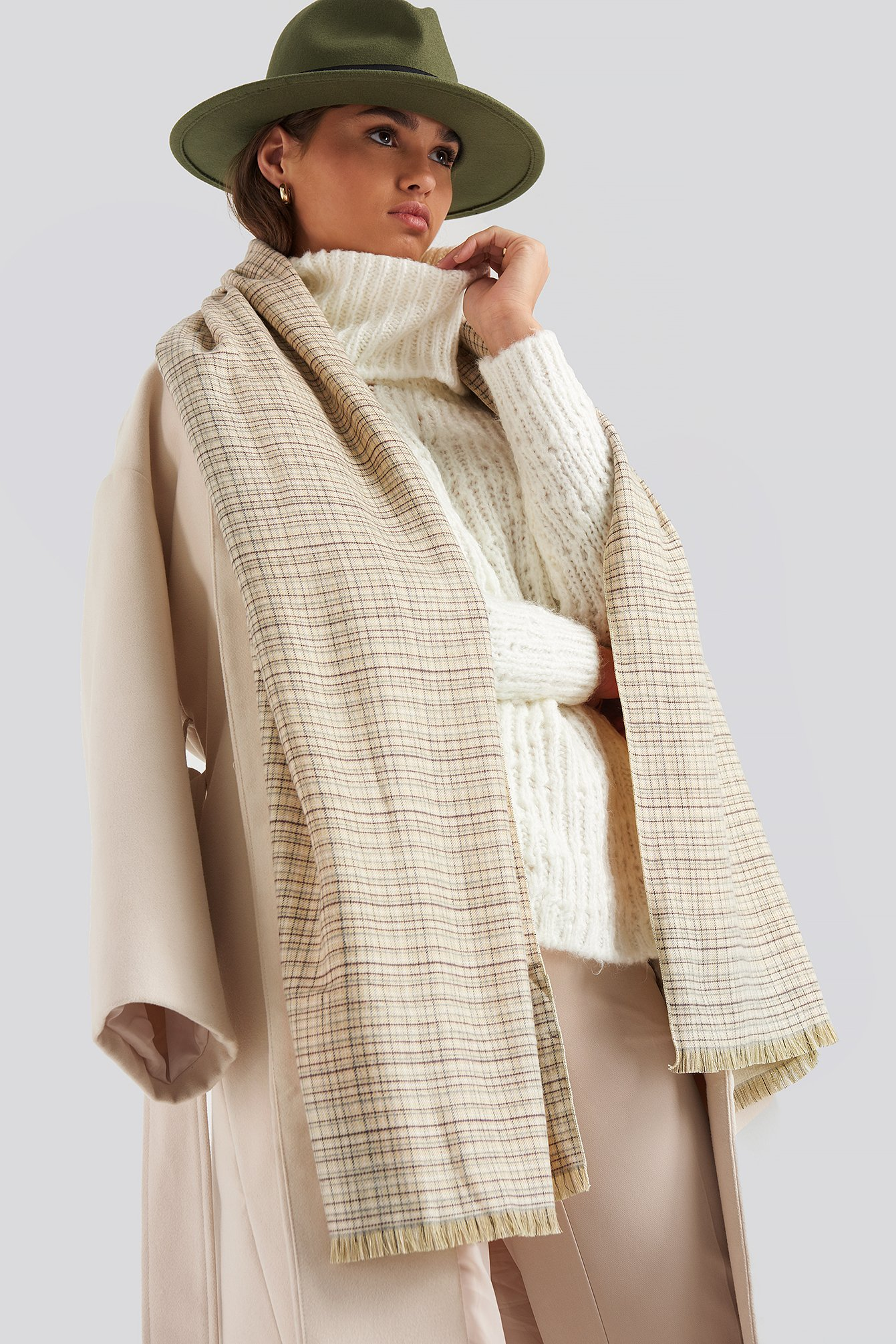 na-kd accessories -  Fine Checked Soft Scarf - Beige