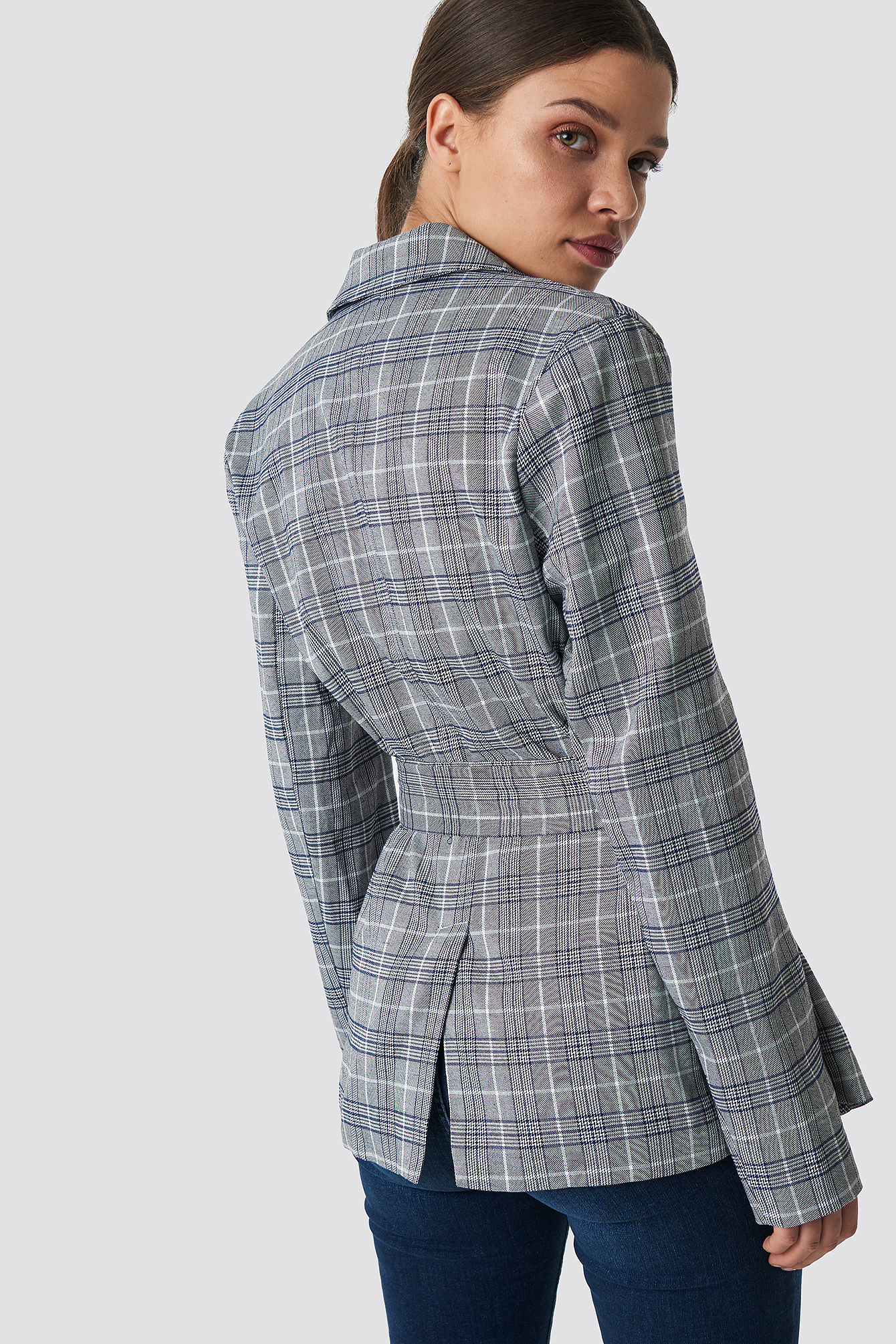 Checkered Belted Blazer NA-KD.COM
