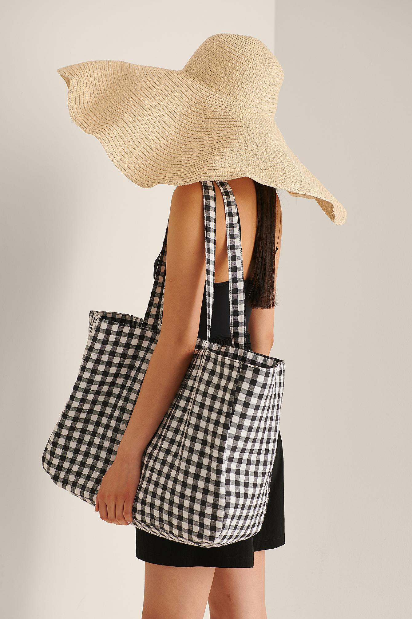 na-kd accessories -  Karierte Strandtasche Aus Baumwolle - Black