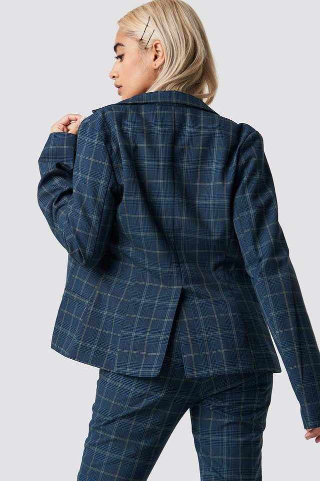 Checked Fitted Blazer Blue Check