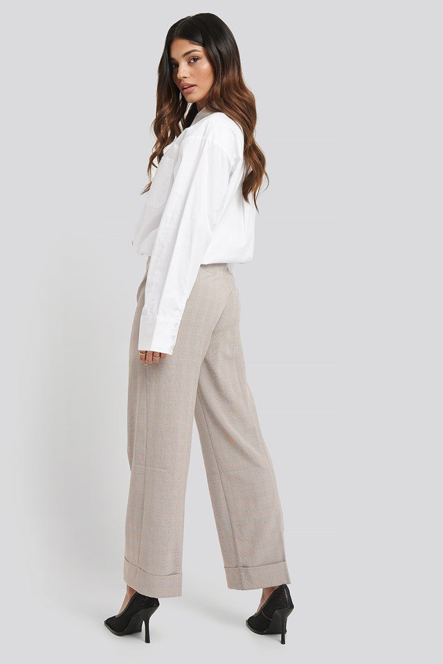 Checkered Folded Wide Suit Pants Beige