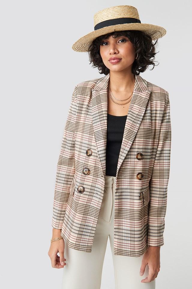 Checkered Straight Double Breasted Blazer NA-KD.COM