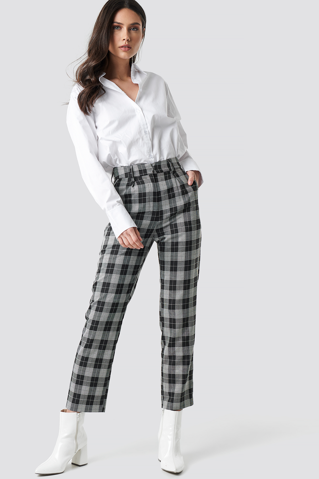 Checkered Straight Suit Pants NA-KD.COM