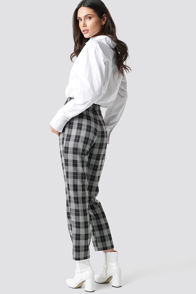 Checkered Straight Suit Pants Black/White