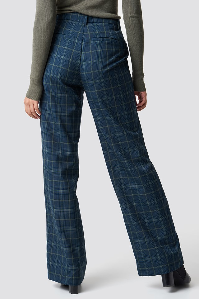 Checked Wide Suit Pants Blue Check