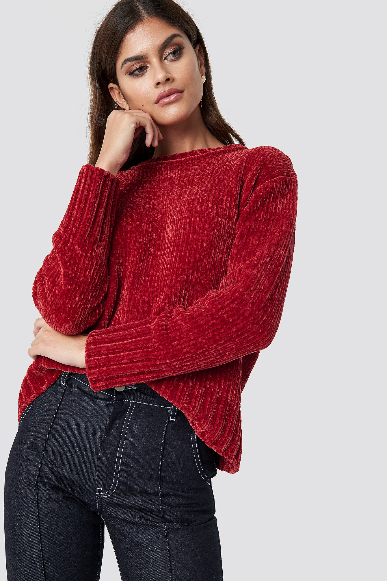 na-kd -  Chenille Knitted Sweater - Red