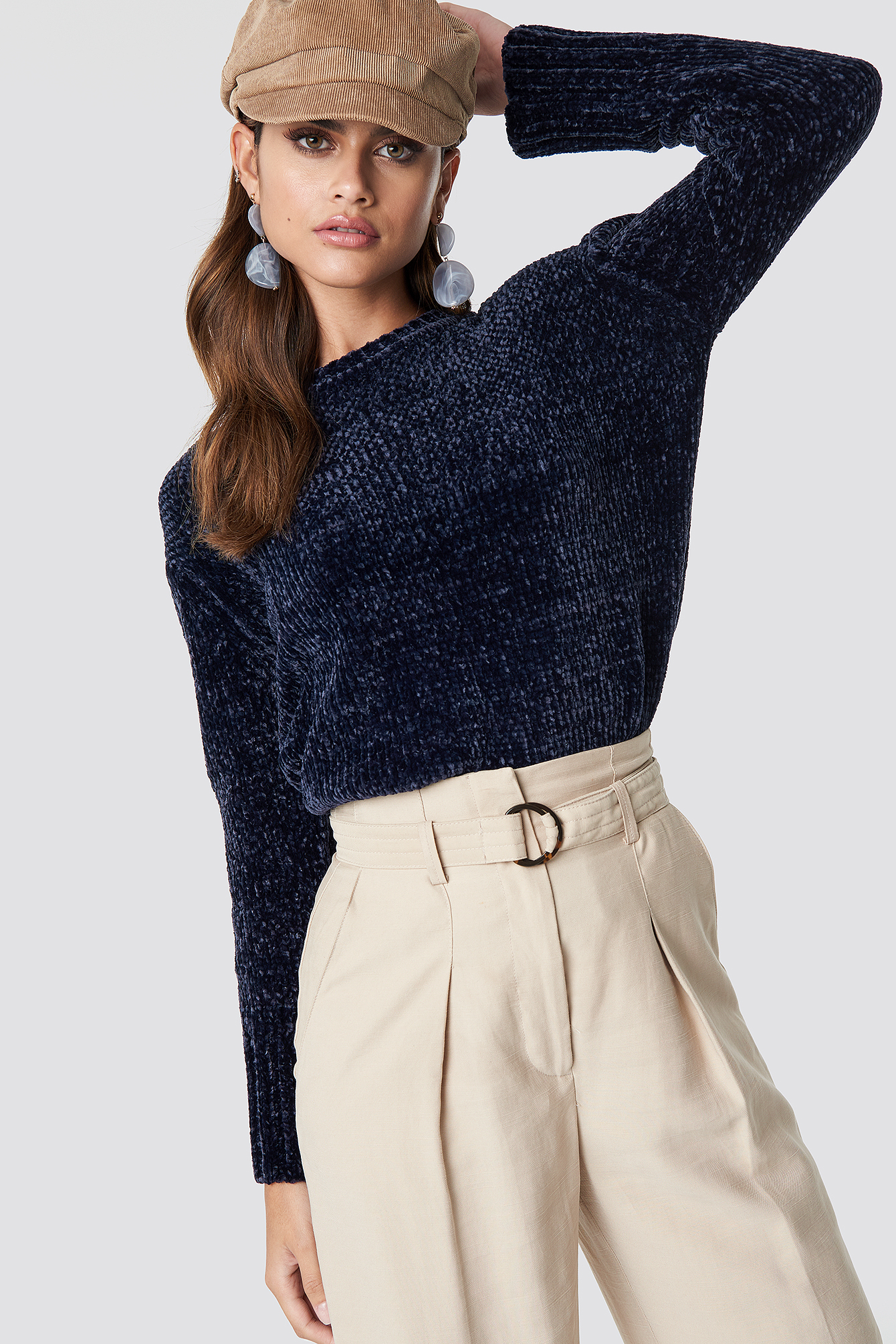 na-kd -  Chenille Knitted Sweater - Navy