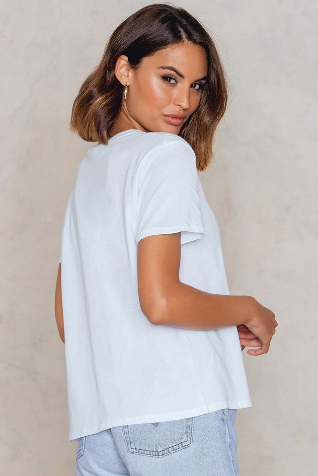 Cherry Sleeve Embroidery Tee White