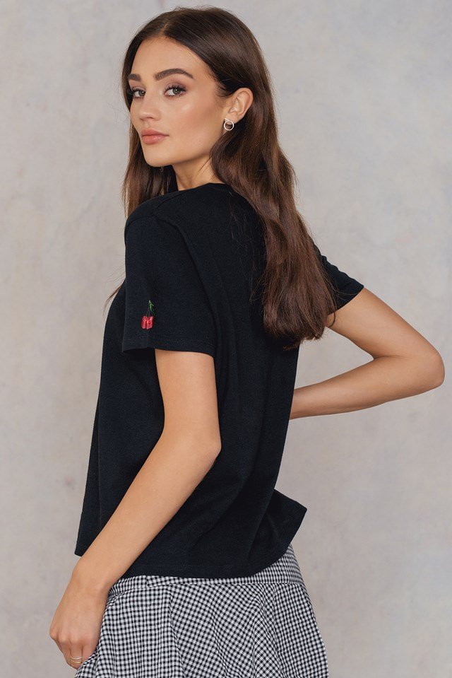 Cherry Sleeve Embroidery Tee Black