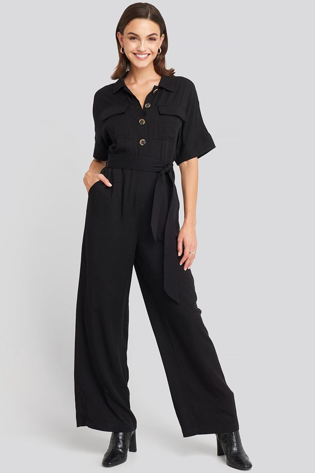 Chest Pocket Buttoned Jumpsuit Black
