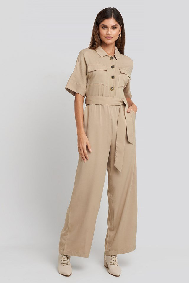 Chest Pocket Buttoned Jumpsuit Beige