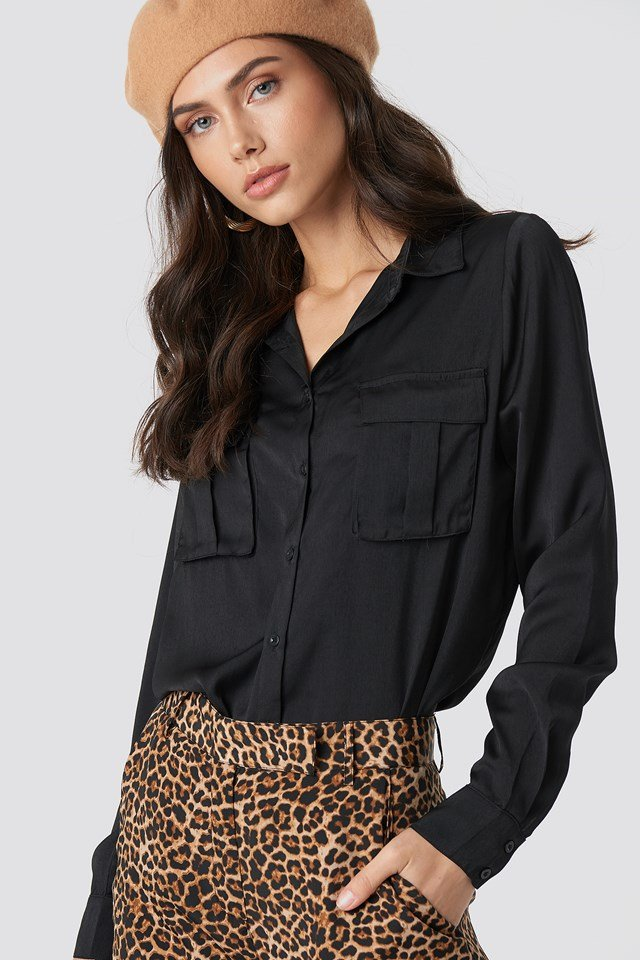 Chest Pocket Satin Shirt NA-KD