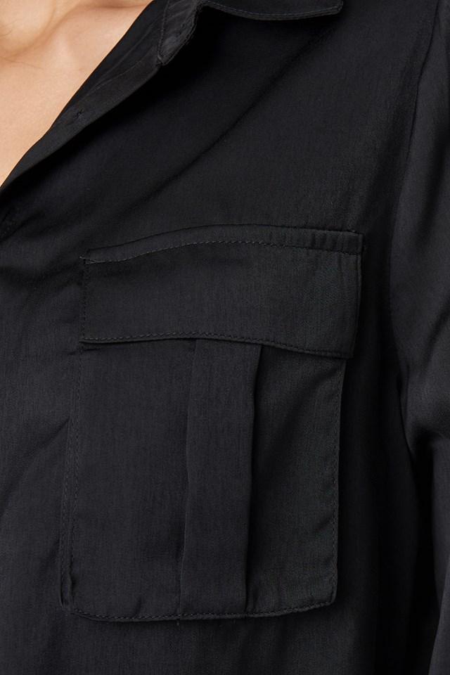 Chest Pocket Satin Shirt Black