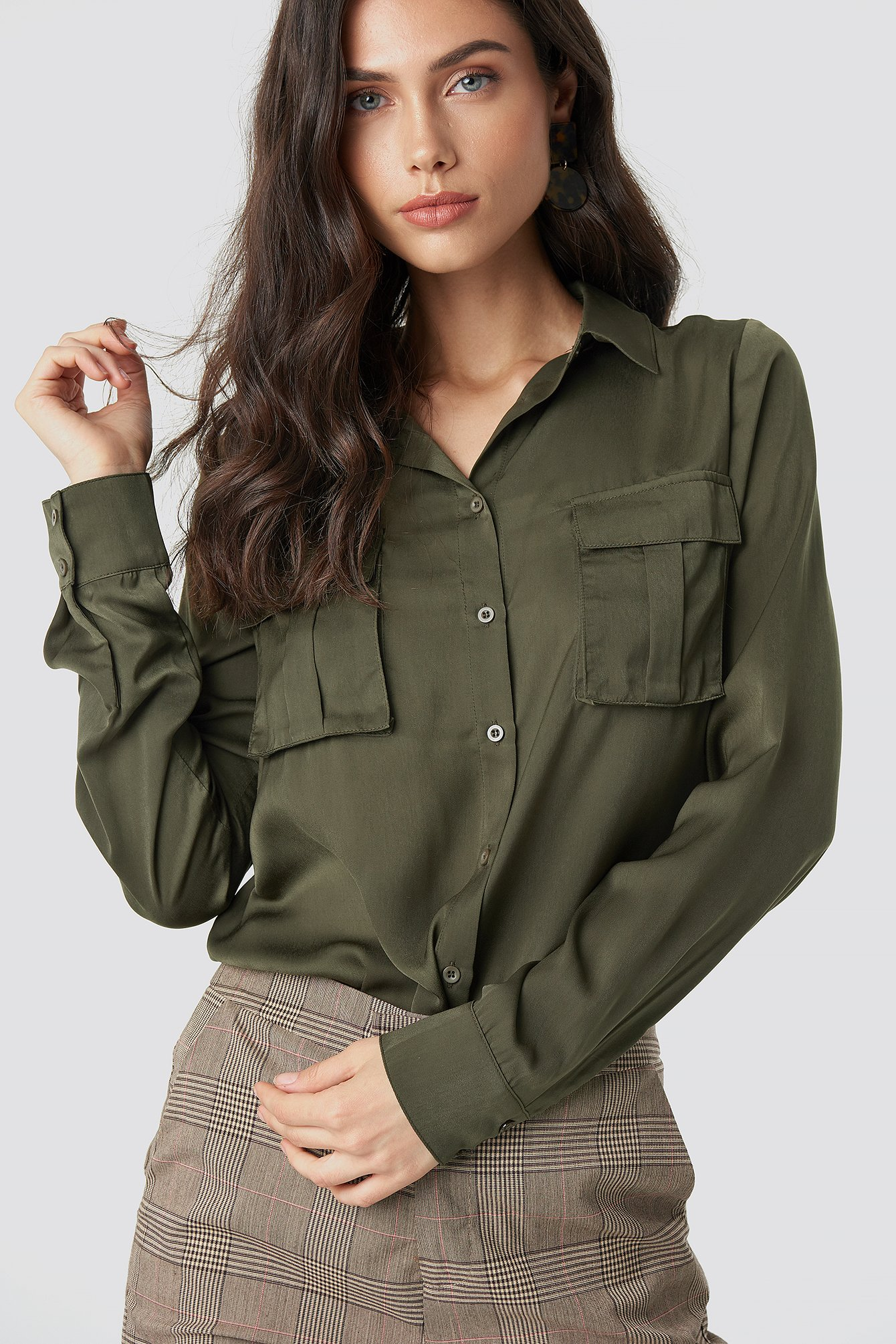 6f976edc Chest Pocket Satin Shirt