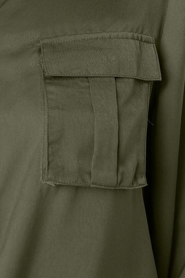 Chest Pocket Satin Shirt Army Green