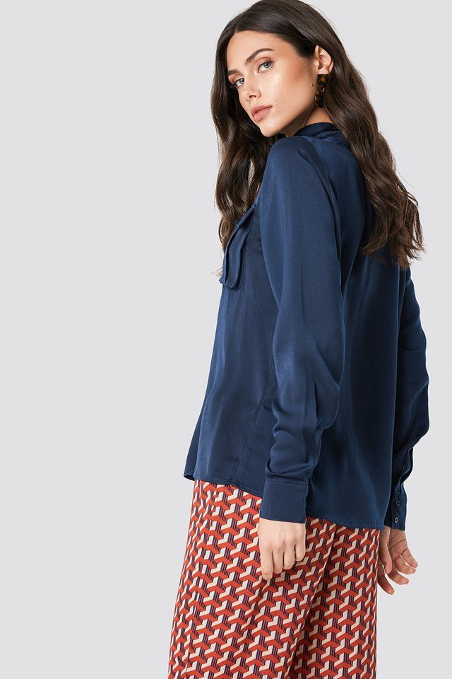Chest Pocket Satin Shirt Midnight Blue