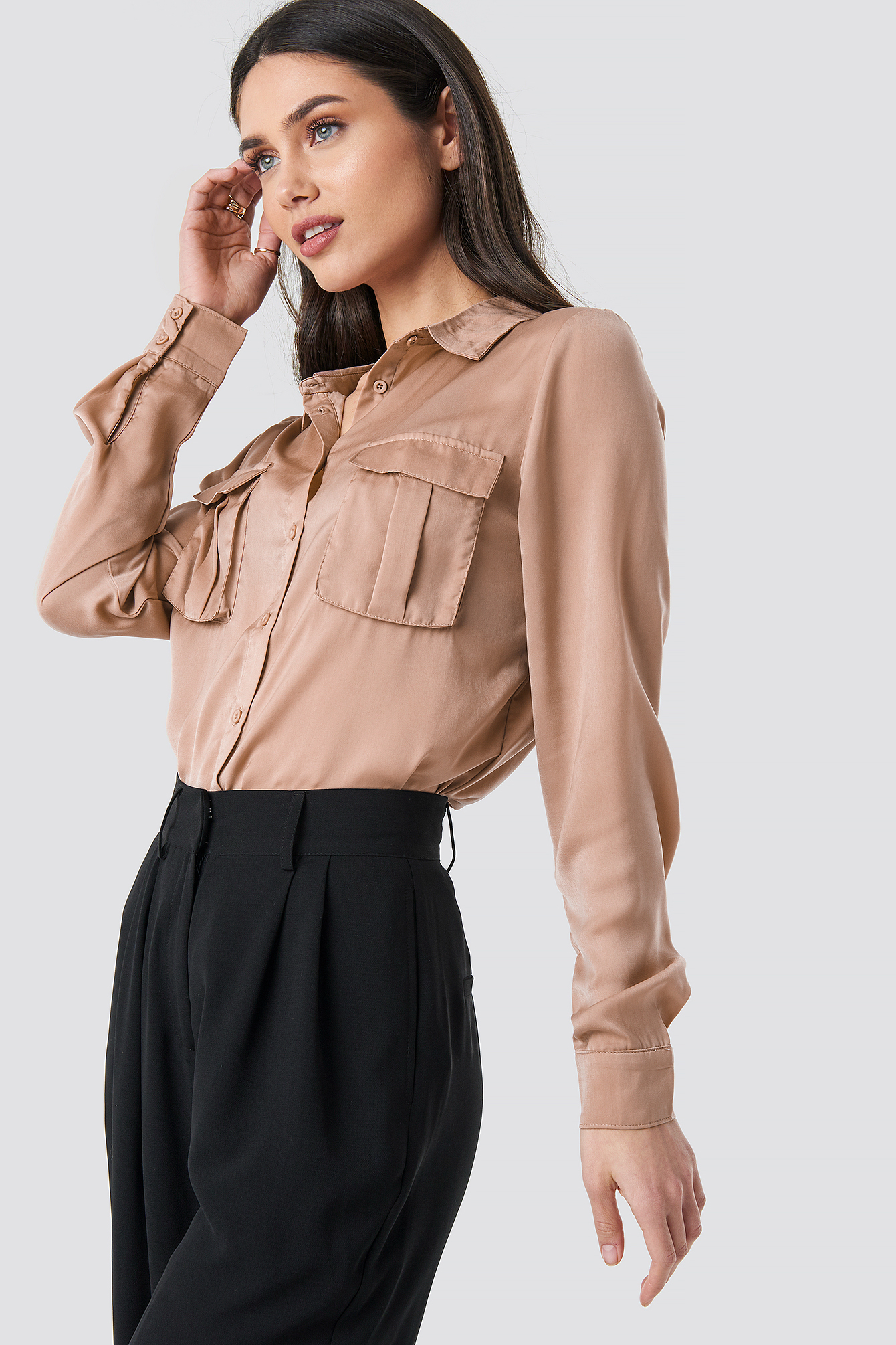 Chest Pocket Satin Shirt NA-KD.COM