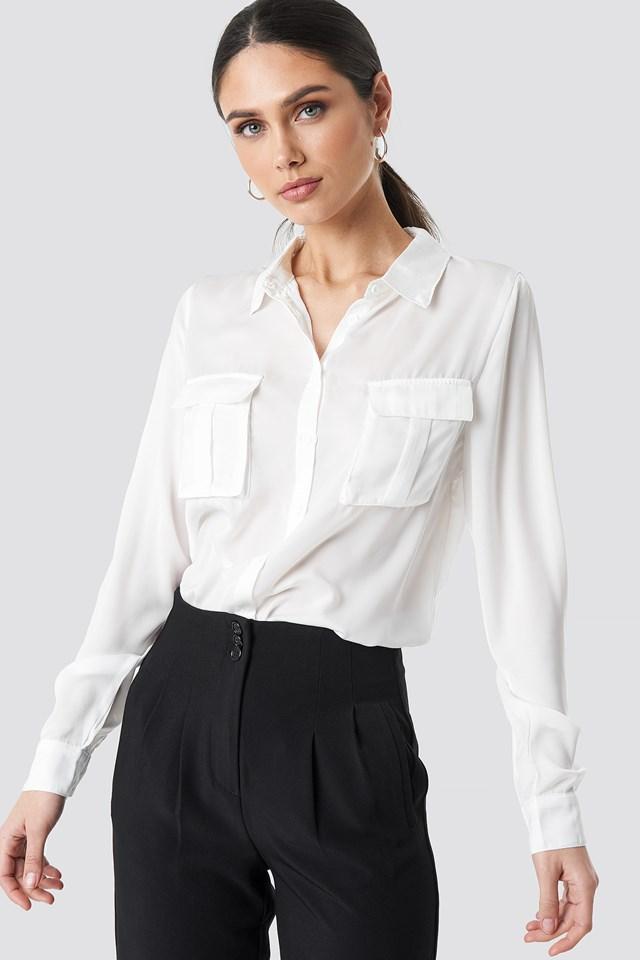 Chest Pocket Satin Shirt White