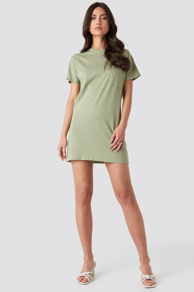 Chest Pocket T-shirt Dress Light Khaki