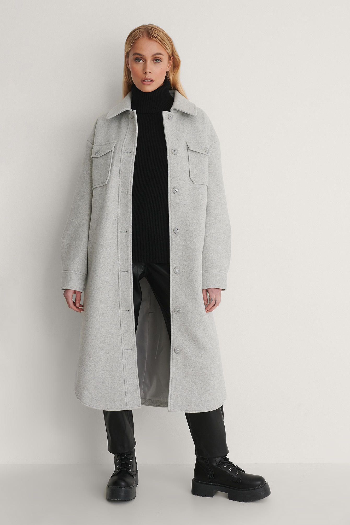 Light Grey Chest Pocket Belted Long Jacket