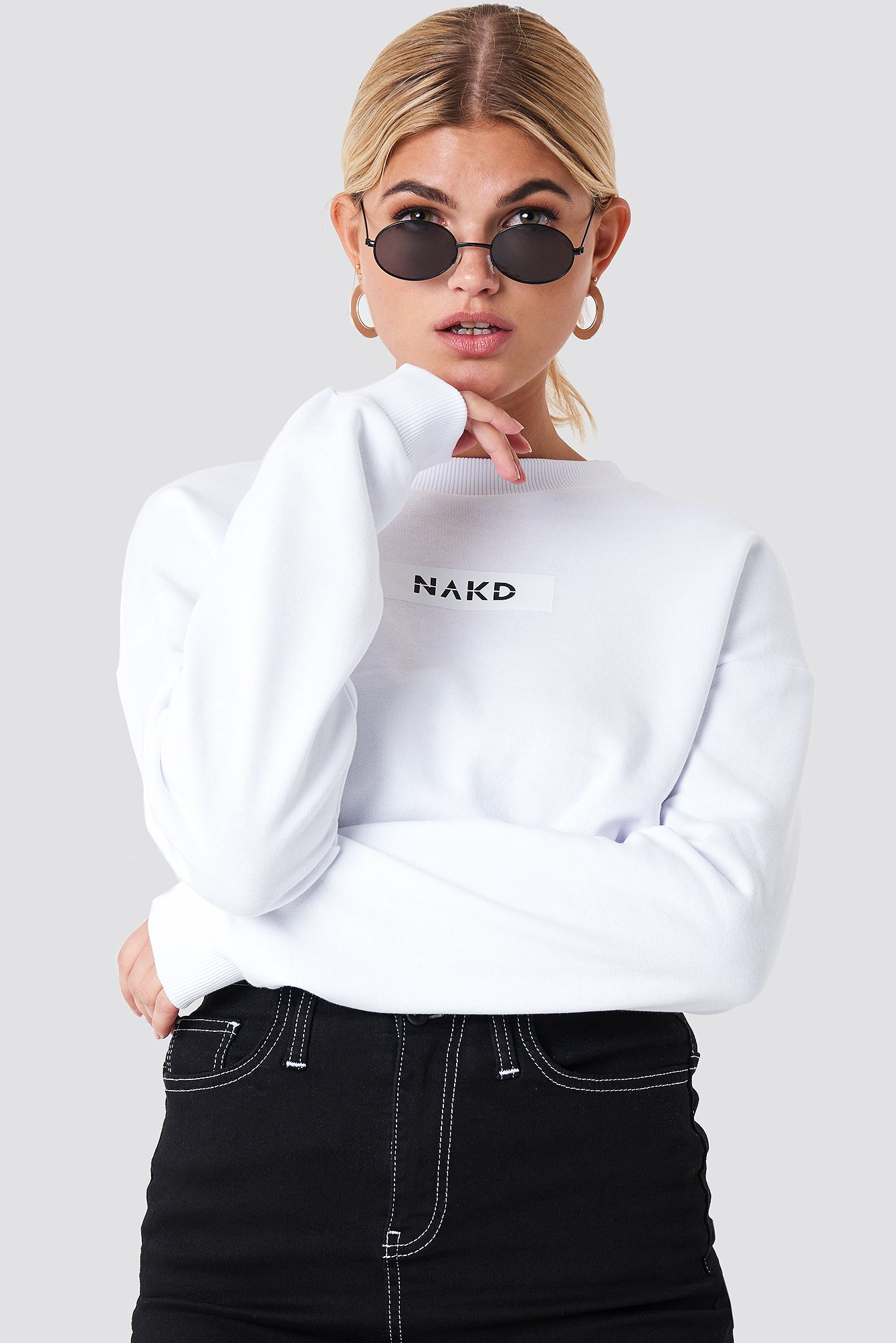 NA-KD Chest Print Oversized Sweater Livraison Gratuite Pas Cher Original En Ligne Réduction De 100% Garanti Faible Vente En Ligne Des Frais D'expédition 7VCye0o