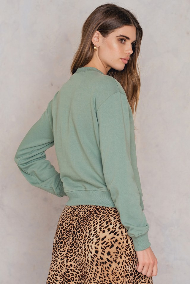 Chest Rose Embroidery Sweater Duck Green