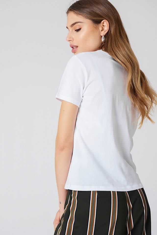 Chest Rose Embroidery Tee White