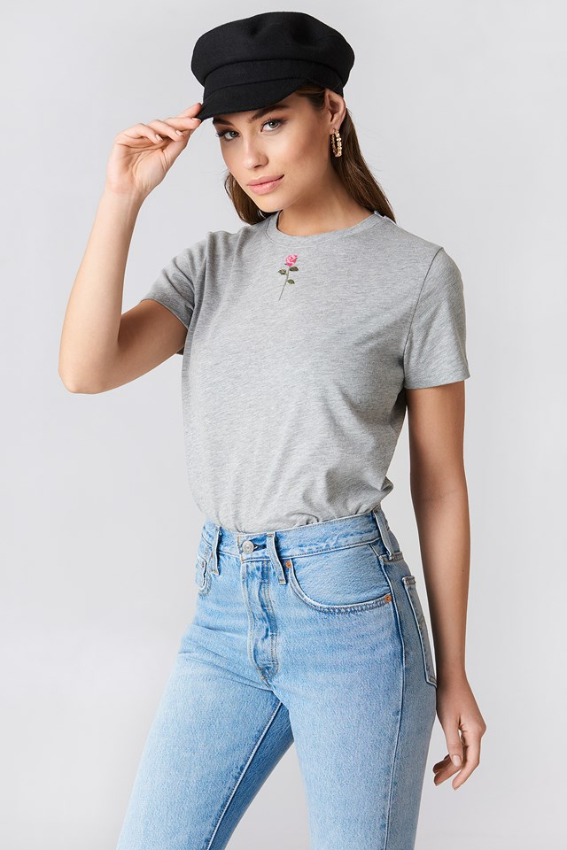 Chest Rose Embroidery Tee Grey/Pink