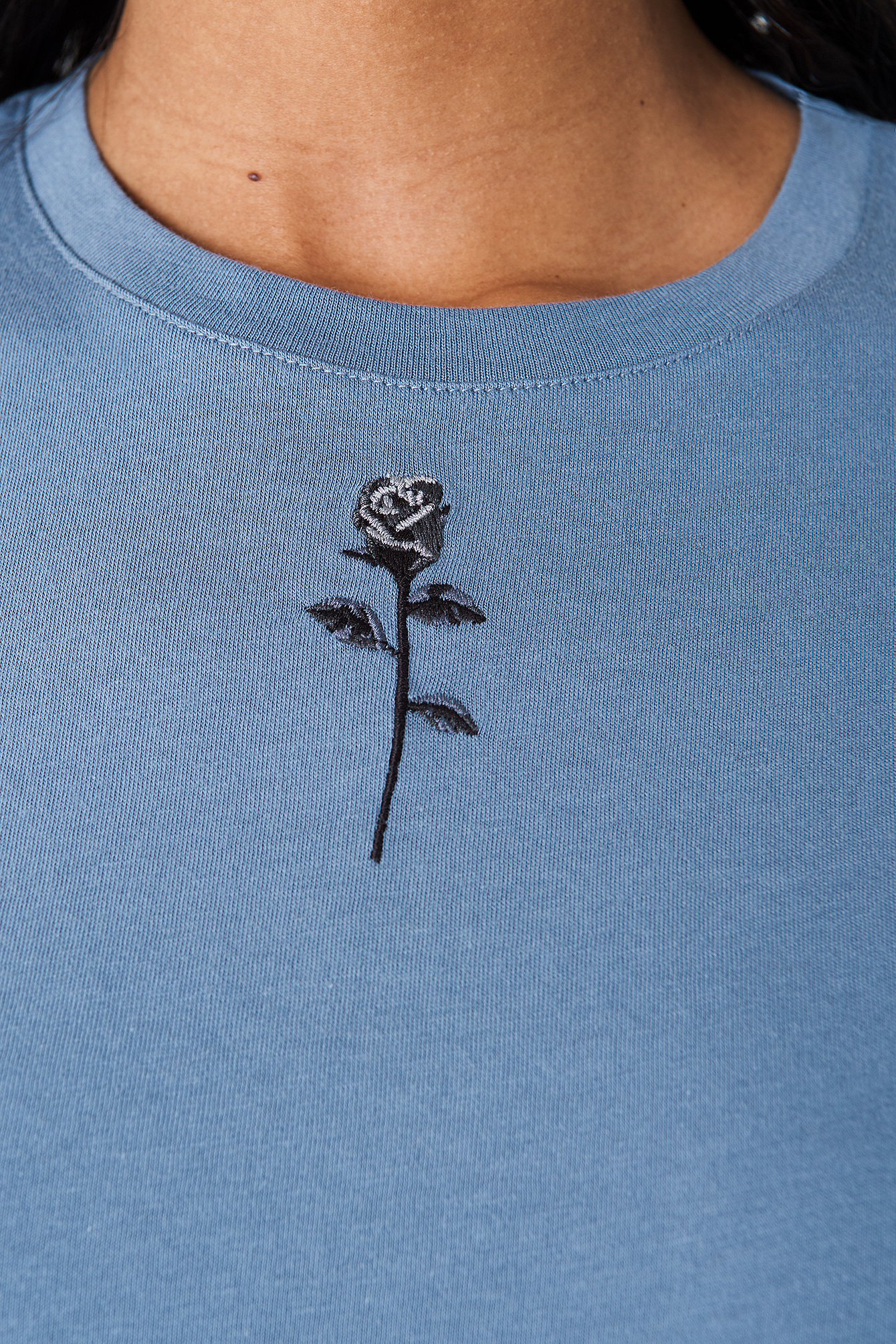 Stone Blue Chest Rose Embroidery Tee
