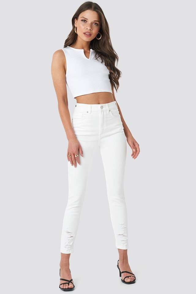 Chewed Hem Skinny Cropped Jeans Off White