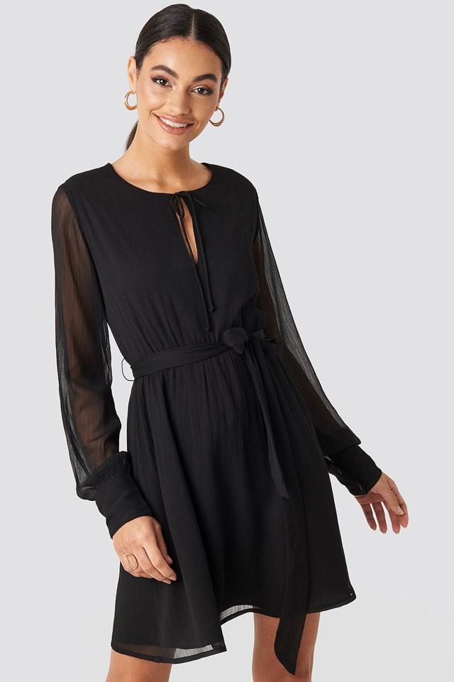 Chiffon Belted Mini Dress Black