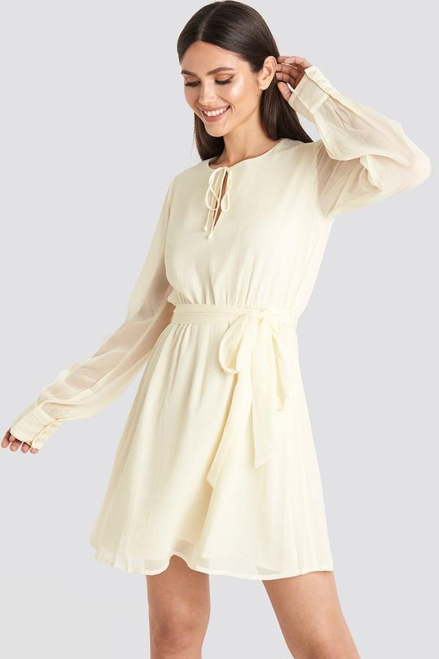 Chiffon Belted Mini Dress Cream