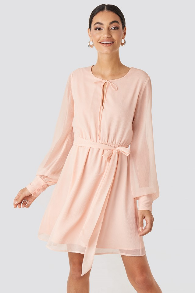 Chiffon Belted Mini Dress Dusty Light Pink