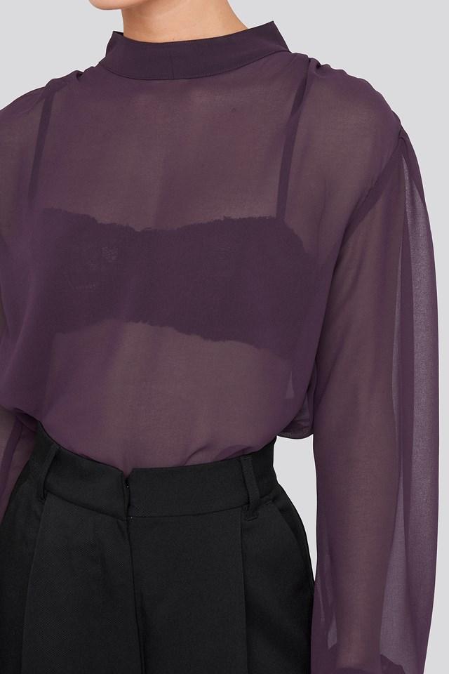 High Neck Balloon Sleeve Chiffon Blouse Purple