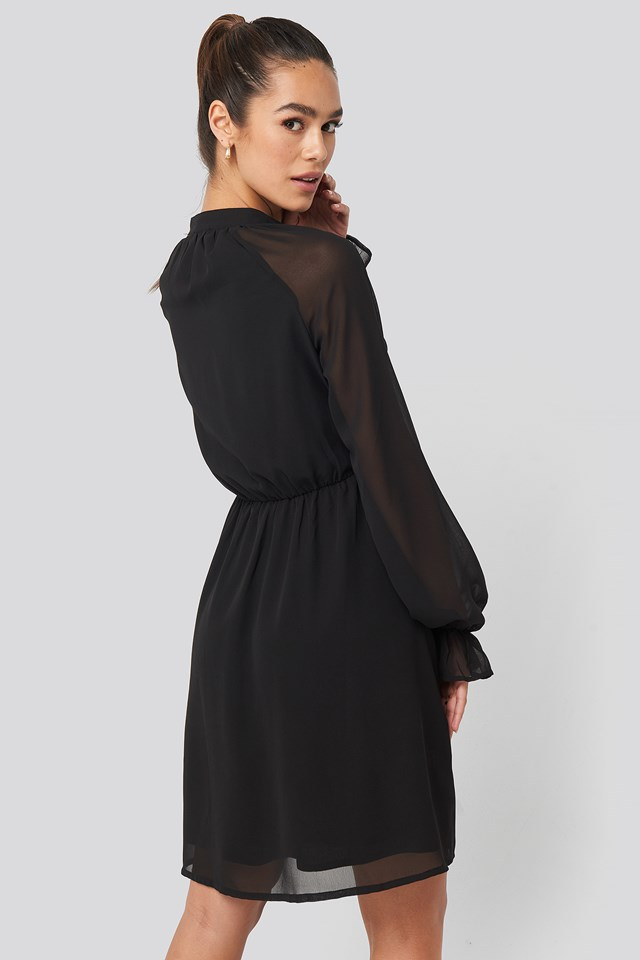 Chiffon buttoned Dress Black