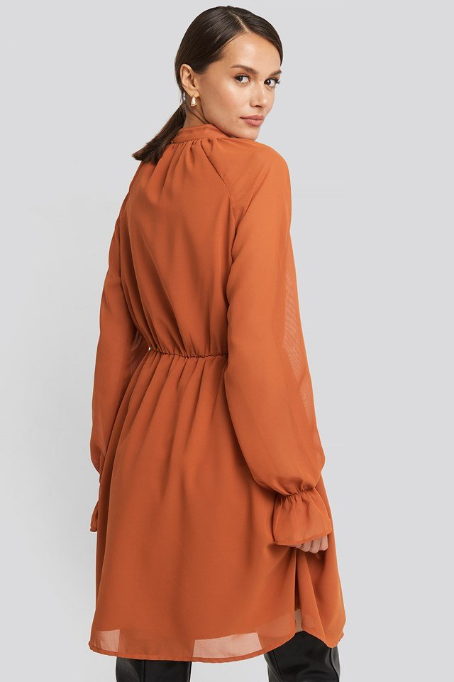 Chiffon buttoned Dress Rust