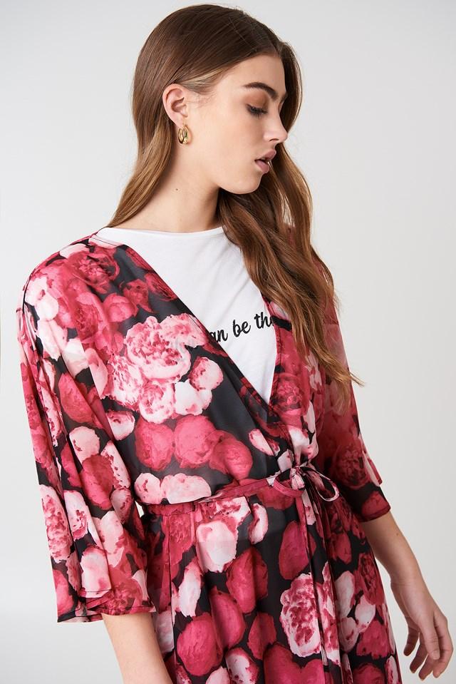 Chiffon Coat Dress Pink Flower