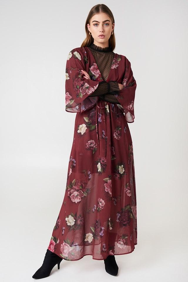 Chiffon Coat Dress Dark Red Print