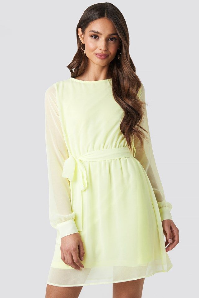 Chiffon Dress Pale Yellow