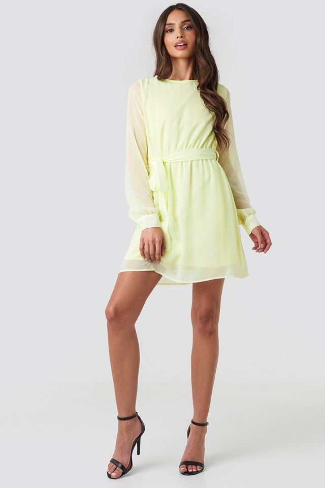 Chiffon Dress Pale Yellow