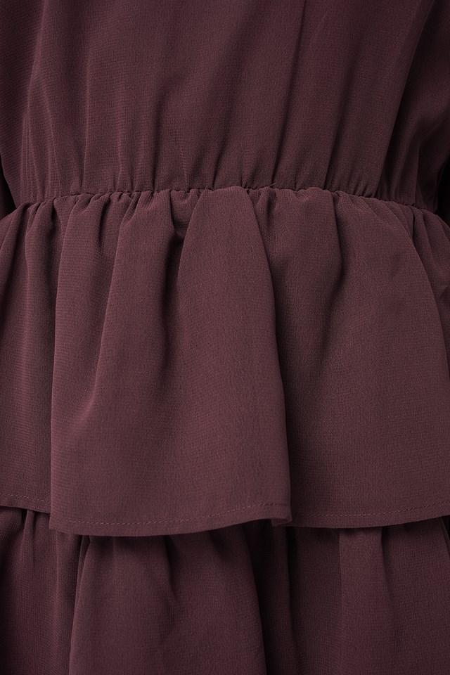 Chiffon Flounce Mini Dress Burgundy