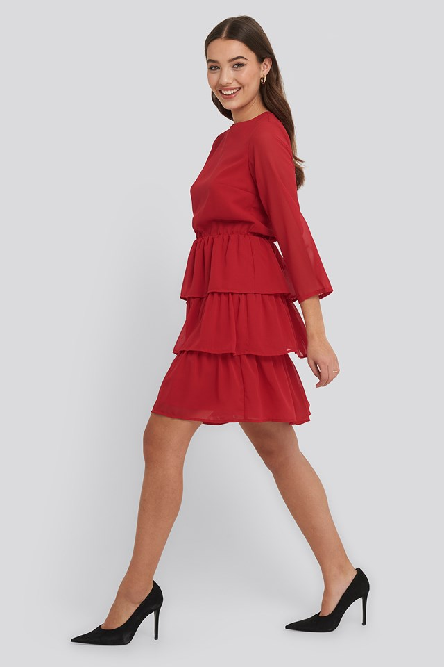 Chiffon Flounce Mini Dress Red