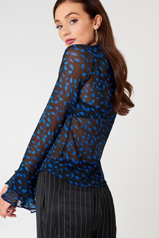 Chiffon Frill Sleeve Shirt Black/Blue Pattern