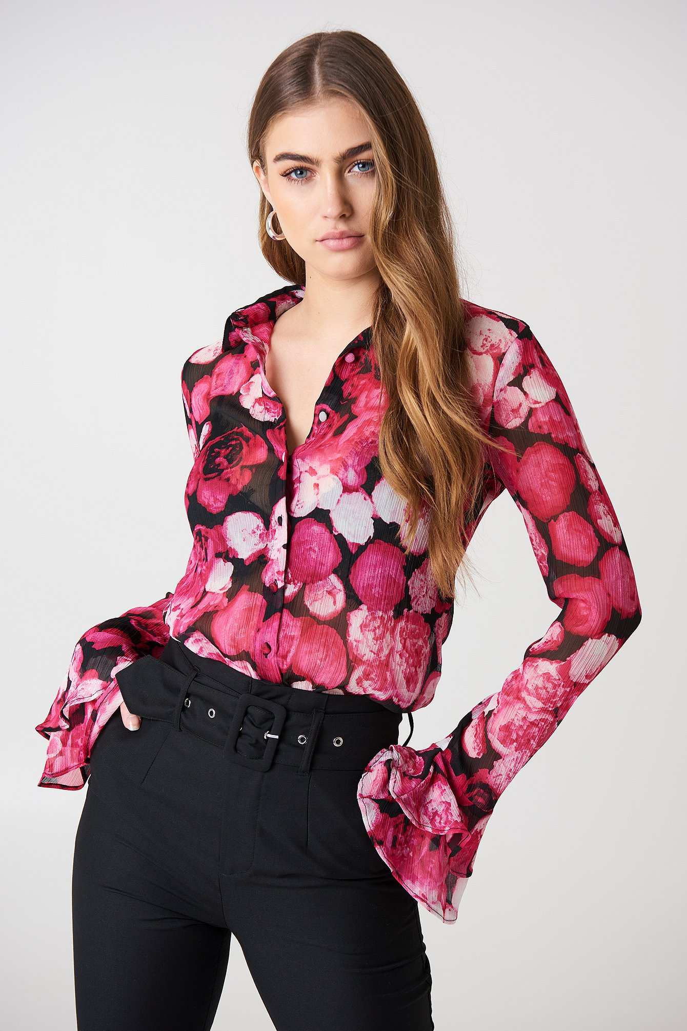 na-kd boho -  Chiffon Frill Sleeve Shirt - Multicolor