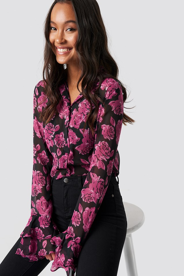 Chiffon Frill Sleeve Shirt NA-KD.COM