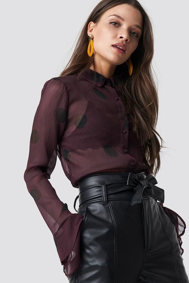 Chiffon Frill Sleeve Shirt Burgundy/Black Dots