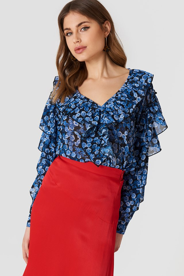 Chiffon Frill V-Neck Blouse Small Blue Flowers