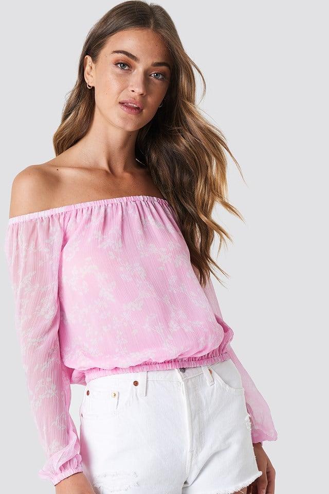Szyfonowa bluzka z odkrytymi ramionami Pink/White Blossom